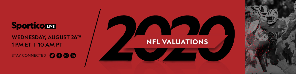 Sportico LIVE WEDNESDAY, AUGUST 26TH 1 PM ET 1 10 AM PT NFL VALUATIONS STAY CONNECTED in 20